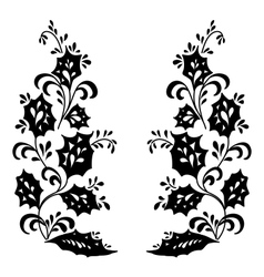 Flowers black silhouettes vector