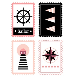 Sailor stamps for summer retro set vector