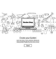 Create your garden website template vector