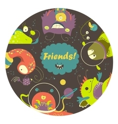Cartoon alien monsters friends vector