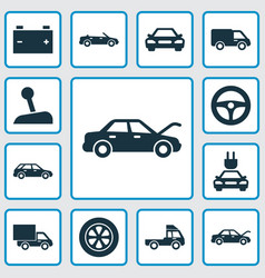 Automobile icons set collection of plug truck vector
