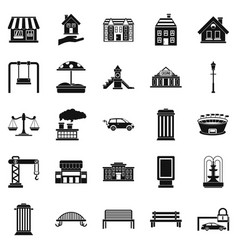 Benches icons set simple style vector