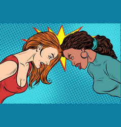 black and white female standoff vector image vector image
