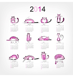 Calendar 2014 with 12 funny pink cats vector image