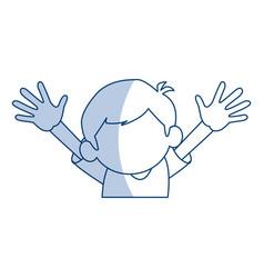 Cartoon boy emotion expression friendly fun vector