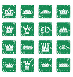 Crown icons set grunge vector