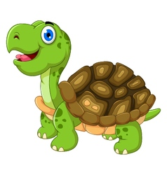Cute funny turtle cartoon Royalty Free Vector Image