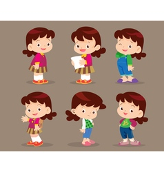 cute cartoon girl actions set vector image vector image