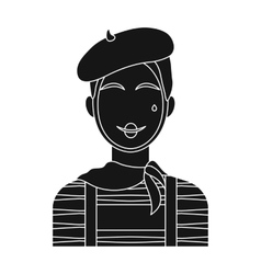 French mime icon in black style isolated on white vector