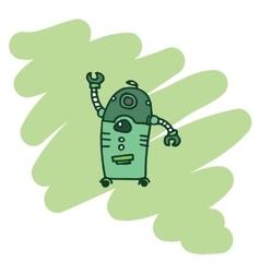 Green robot t-shirt design vector