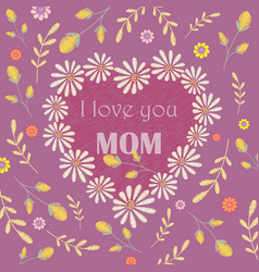 greeting card design to mothers day vector image vector image
