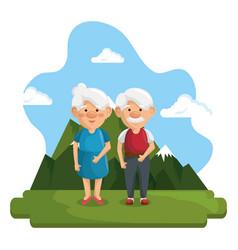 happy grandparents icon vector image