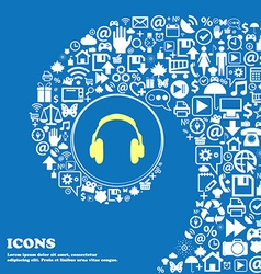 headsets sign symbol Nice set of beautiful icons vector image vector image