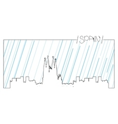 Isolated skyline of barcelona vector