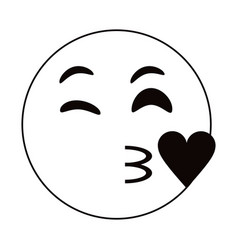 kiss love emoticon funny thin line vector image