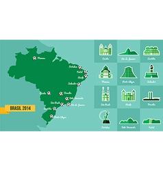 Landmark Brazil map silhouette icon vector image vector image