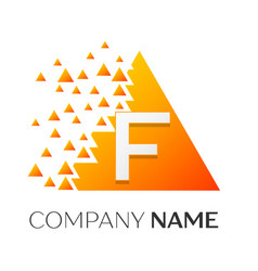 letter f logo symbol on colorful triangle vector image