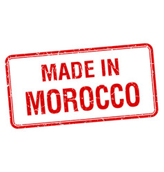 Made in morocco red square isolated stamp vector