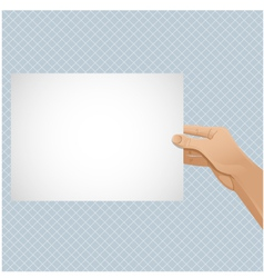 Man hand keeps paper vector image