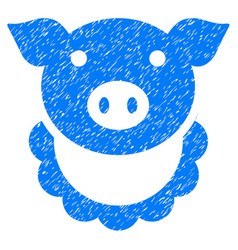 Pig reward icon grunge watermark vector