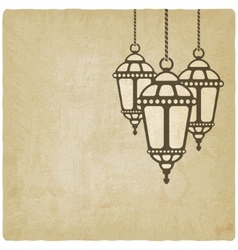 Ramadan lantern old background vector image