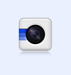 realistic white web camera icon on white vector image