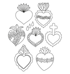 Sacred heart doodle set vector