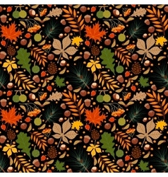 Seamless pattern with autumn leaves and vector