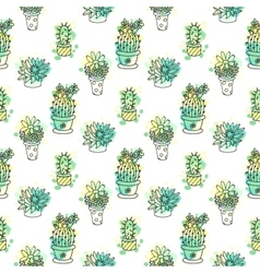 Seamless pattern with cactus Colorful vector image vector image