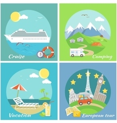Set concept vacation camping cruise vector