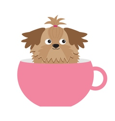 Shih tzu dog sitting in pink cup cute cartoon vector