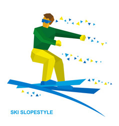 Ski slopestyle freestyle skier jumps vector