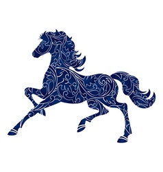 Symbol of Year 2014 blue horse isolated icon vector image vector image