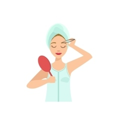 Woman shaping eyebrows with tweezers home spa vector