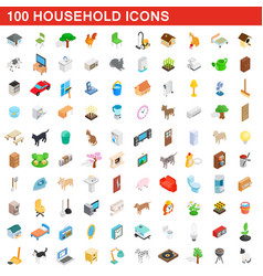 100 household icons set isometric 3d style vector image vector image