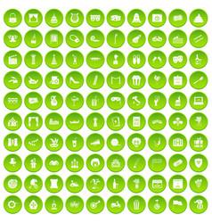 100 mask icons set green circle vector