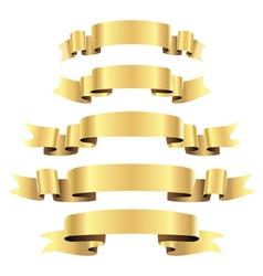 Ribbon set gold vector