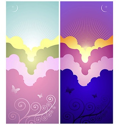 Set of sunset and sunrise banners vector image