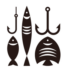Fishing hooks and fishes vector