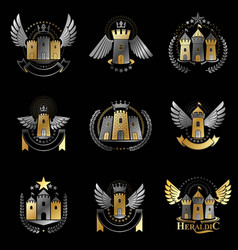 Ancient castles emblems set heraldic coat of arms vector