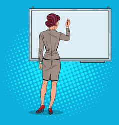 woman drawing on whiteboard pop art vector image