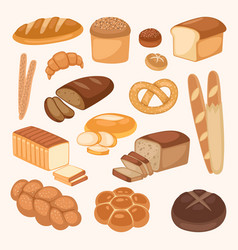 Bread bakery products color vector