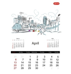 Calendar 2014 april streets of the city sketch for vector