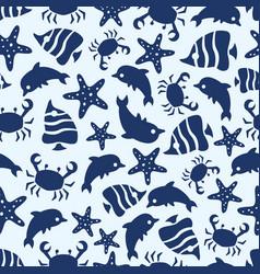 Sealife seamless pattern with fish sea stars vector