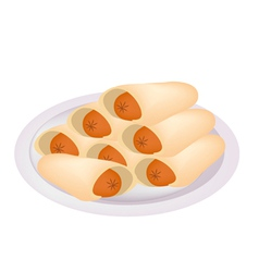 Stack of sausage pancake on a plate vector