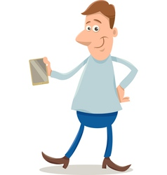 Man with smart phone cartoon vector