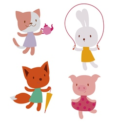 Cute animal characters vector