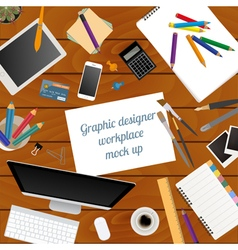 Workspace of the graphic designer mock up for vector