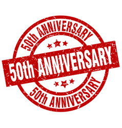 50th anniversary round red grunge stamp vector