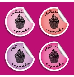 Cupcake stickers vector